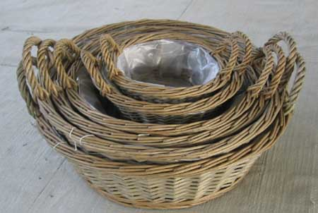 Sell Willow Flower Basket Wicker Garden Vase Planter Zinc