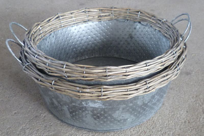 Sell Willow Flower Vase Wicker Garden Planter Zinc Pot