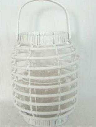 Selling Willow Lantern Flower Basket Wicker Garden Planter Pot Zinc Lanter