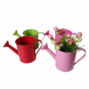 Selling Zinc Flower Basket Garden Pot With Wicker Weaving Willow
