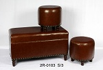 Set Of 3 Faux Leather Storage Ottoman