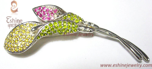Shinning White Rhodium Plated Brass Cz Lily Brooch With Colorful Stones