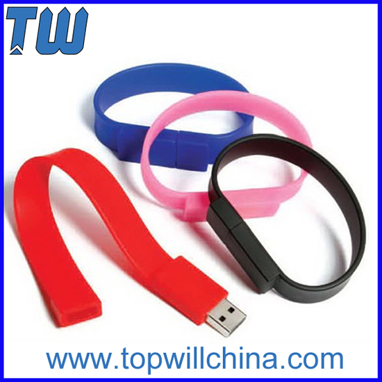 Silicone Wristband Bracelet Pen Drives With Free Logo Printing
