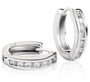 Silver Stud Earring Diamond Hook