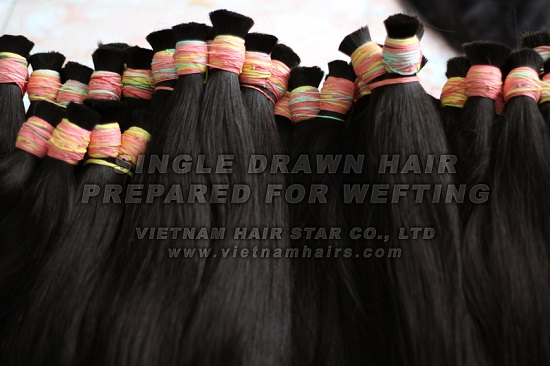 Single Drawn Hair Prepared For Weft