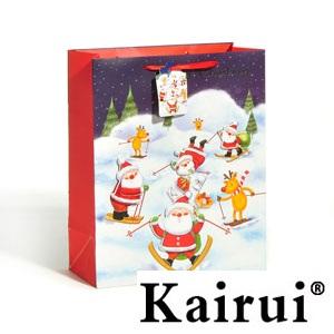 Skiing Santa Claus Christmas Paper Bag Kr220 3