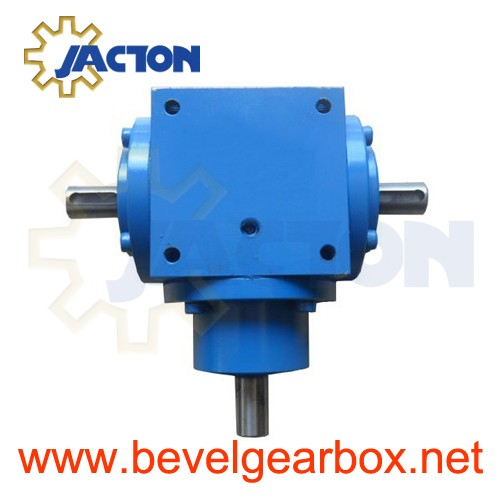 Small 90 Degree High Speed Gearbox 5 To 1 Gear Ratio Box With Shafts Hollow Shaft Four Way