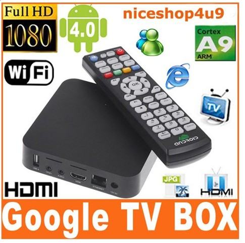Smart Android 4 0 Tv Set Top Box Cortex A9 1ghz Cpu Ddr3 1gb 4gb Nand Wi Fi 3d 1080p Hdmi Ir Remote
