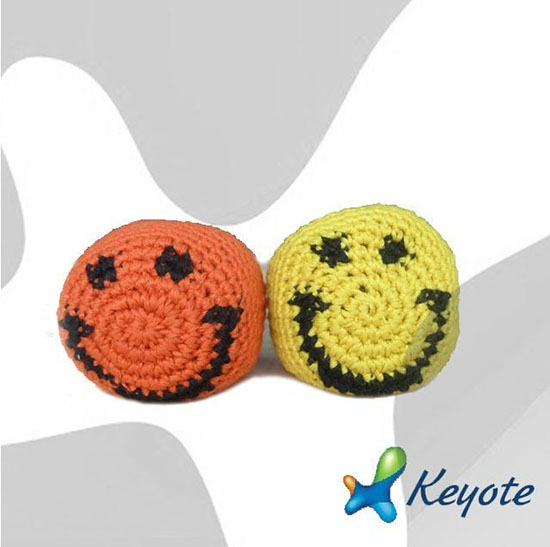 Smile Face Kick Ball Beanbag Filling Knitted Machine Sewing