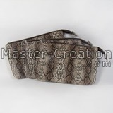 Snake Pattern Bag Pu Makeup With Fur Decorated Artificial Leather