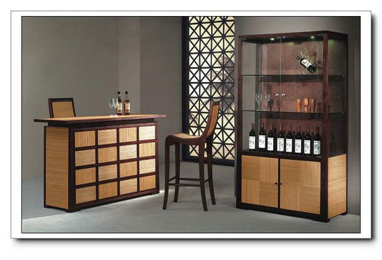 Solid Bamboo Home Wine Storage Bar Cabinet
