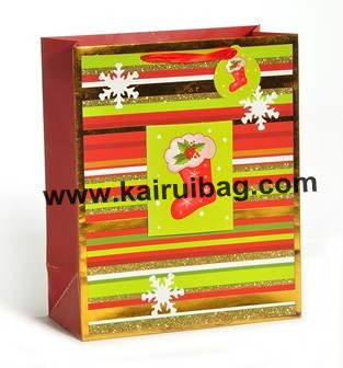 Sparkling Christmas Stocking Paper Gift Bag Kr224