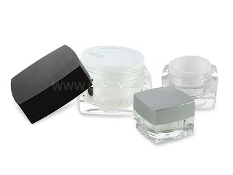 Square Clear Cosmetic Jar For Personal Care
