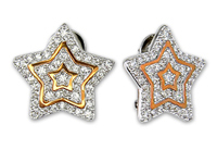 Star Shape Brass Jewelry Earrings With Clear Cz Stones For Women