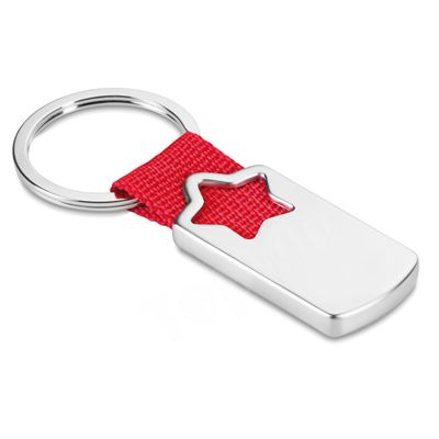 Star Shaped Metal Keychain With Polyester Webbing