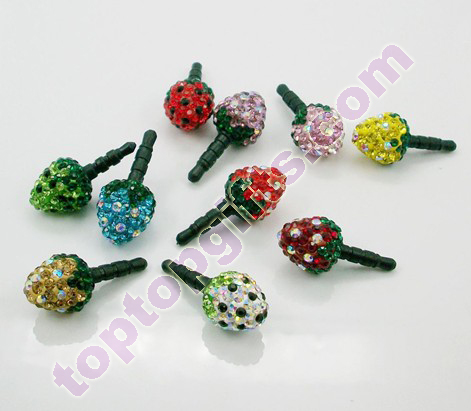 Strawberry Rhinestone Earphone Dust Cap Cell Phone Decoration