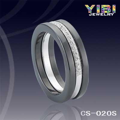 Streamlined Diamond Inlay Ceramic Wedding Jewelry Round Black Rings