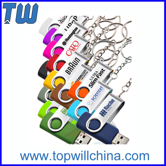 Swivel Usb Flash Drive With Free Logo Printing And Key Chain