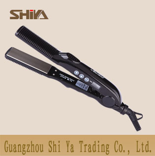 Sy 825 Shiya Hair Straighteners Flat Irons Manufacturer 2in 1 Straightener Curler With Comb Ceramic