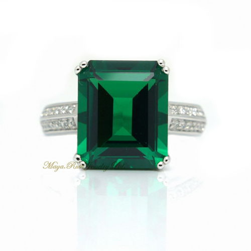 Synthetic Emerald Ring Square Shape 925 Sterling Silver White Gold Plated Luxury And Elegant Female