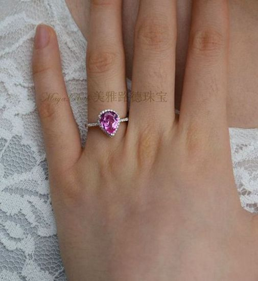 Synthetic Pink Sapphire Gem Drop Shape Ring Red Corundum 925 Sterling Silver White Gold Plated