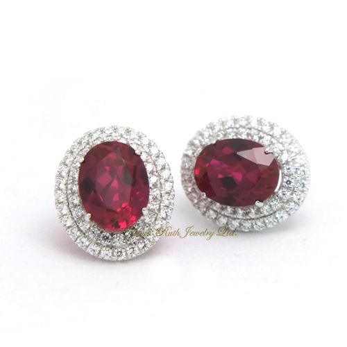 Synthetic Ruby Earring Corundum 925 Sterling Silver White Gold Plated Luxury And Elegant Women S Gif