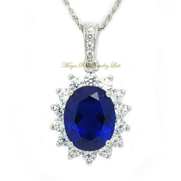 Synthetic Sapphire Blue Color Pendant 925 Sterling Silver William And Diana Set Fashion Noble Elegan