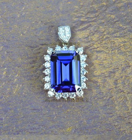 Synthetic Tanzanite Square Shape Pendant 925 Pure Silver Fashion Luxury White Gold Plated Vintage Gi