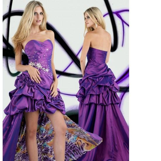 Taffeta Print Satin Sweetheart Flattering Pleated Bodice Chapel Train Evening Dresses E51