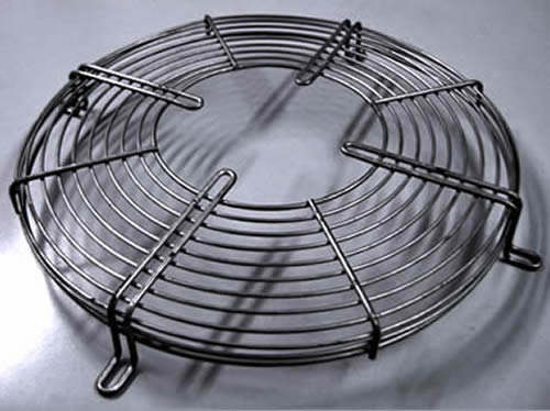 Tapered Type Metal Wire Fan Finger Guard Black And Chromed