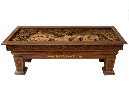 Teak Table With Carving