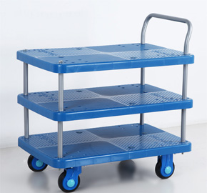 Three Layers Noiseless Platform Trolley Plastic Mute Flatbed Hand Ls150 T3 D