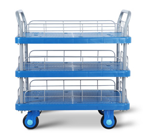 Three Layers Plastic Mute Handcart High Quality Noiseless Platform Hand Trolley
