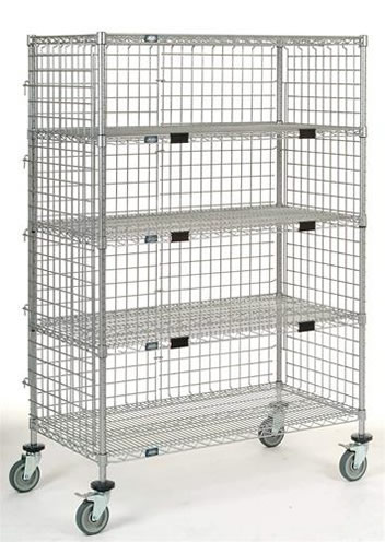 Three Sided Wire Cart Encloses Items Safely