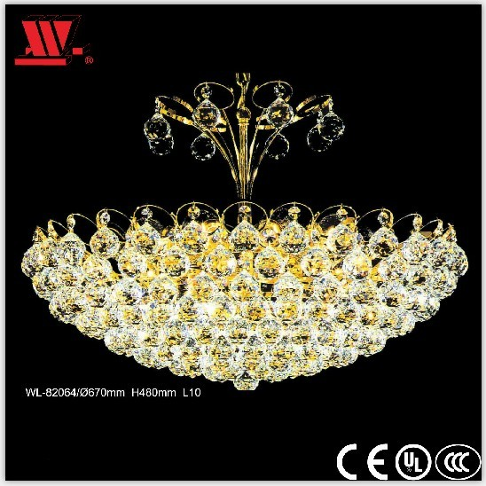 Traditional Style Gold Finished Crystal Ceiling Lamp