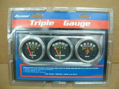 Triple Gauge Kit Oil Press Water Temp Ammeter