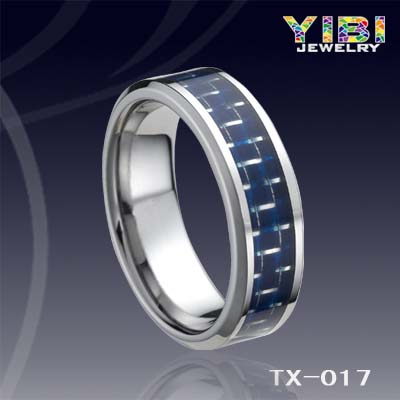 Tungsten Men S Blue Carbon Fiber Inlay Beveled Edge Ring
