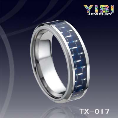 Tungsten Men S Blue Carbon Fiber Inlay Beveled Edge Ring