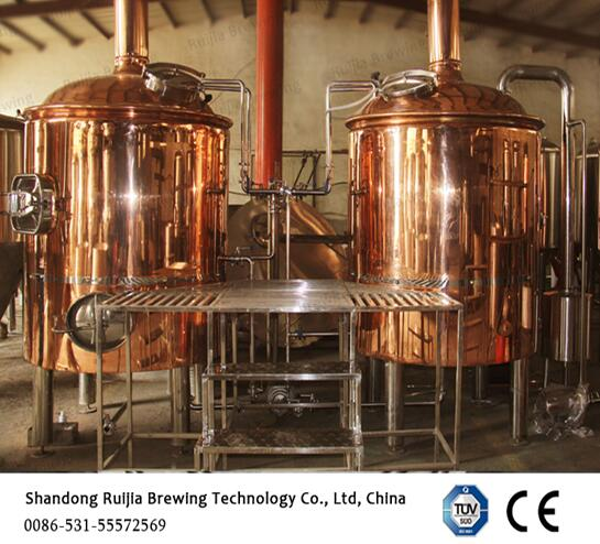 Two Vessels Red Copper Brewing Equipment 1000l Cladding Brew Kettle
