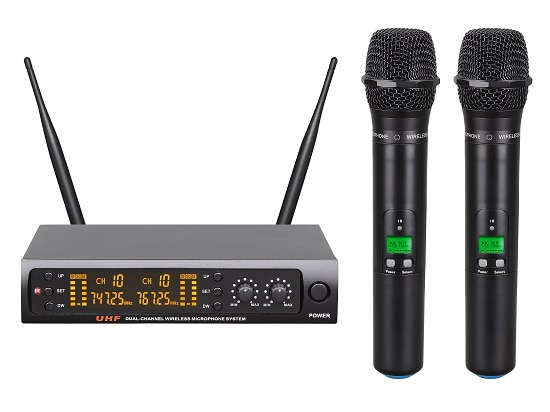 Uhf Dual Channel 160 Frequencies Wireless Microphone