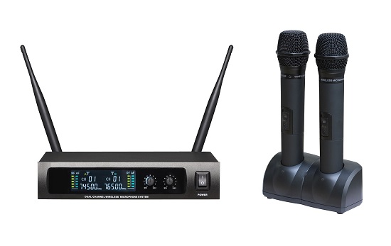 Uhf Dual Channel Rechargeable Wireless Microphone