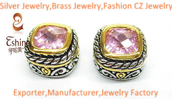 Unique Brass Jewelry Designer Inspired Earring With Square Pink Cz Stones Party Earrings