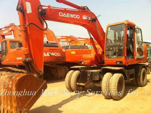Used Deawoo Wheeled Excavator Dh130w