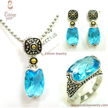 Vintage Jewelry Set Brass Cz With Oval Blue Gemstones And Genuine Rhodium Plating