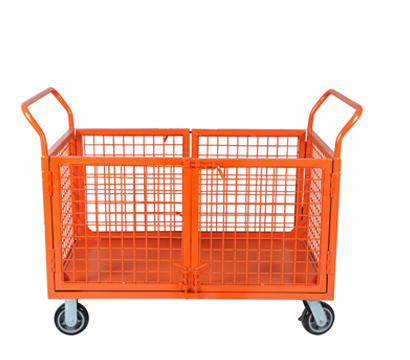 Warehouse Logistics Platform Trolley With Mesh Sides Mobile Industrial Flatbed Hand Rca 013