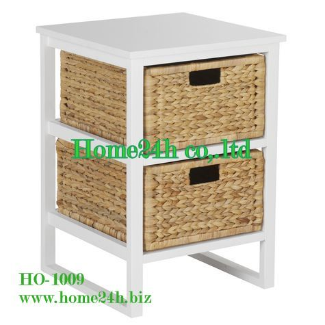 Water Hyacinth 2 Drawers Cabinet Wooden Frame