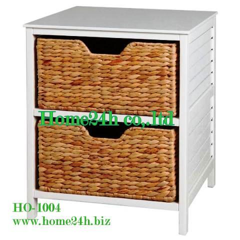 Water Hyacinth Cabinet 2 Drawers Wooden Frame