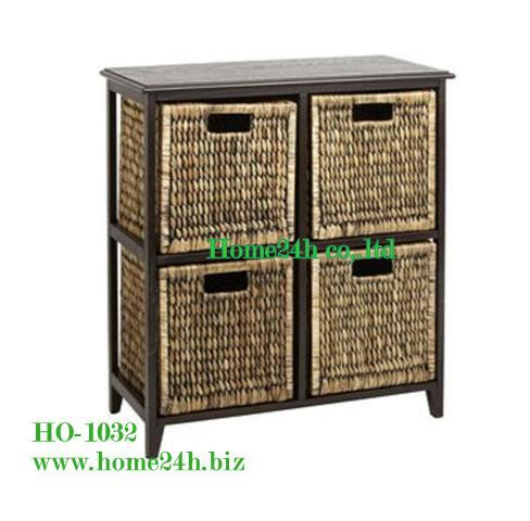 Water Hyacinth Cabinet 4 Drawers Solid Wooden Frame