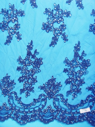 Wedding Lace Fabric With Beads Or Sequins