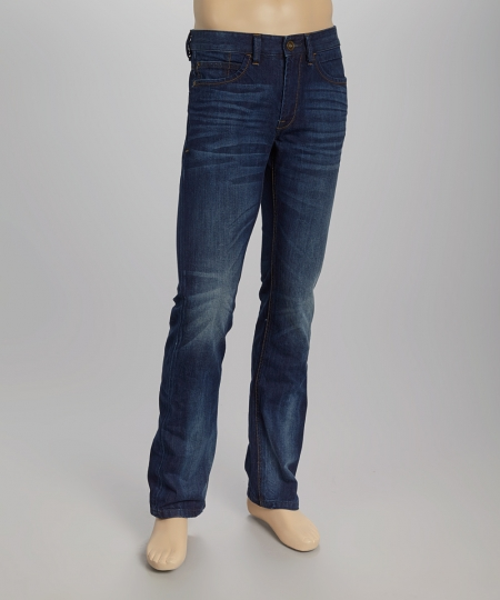 Whiskered Straight Leg Jeans Back